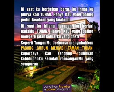 Padang Gurun Menjadi Taman Tuhan – Lirik Lagu Pujian